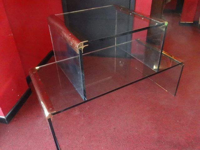 2 PC PACE STYLE GLASS TABLES WITH BRASS FRAMES, VERY