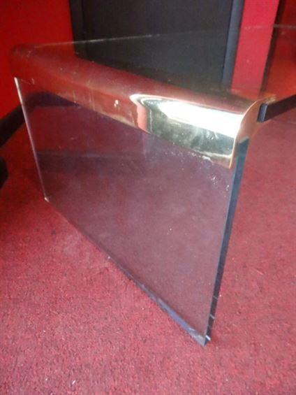 2 PC PACE STYLE GLASS TABLES WITH BRASS FRAMES, VERY - 3