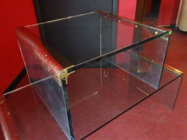 2 PC PACE STYLE GLASS TABLES WITH BRASS FRAMES, VERY - 5