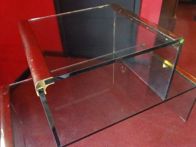 2 PC PACE STYLE GLASS TABLES WITH BRASS FRAMES, VERY - 6