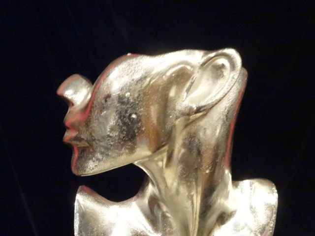 LARGE ALUMINUM FEMALE BUST SCULPTURE, #1 OF TWO - 2