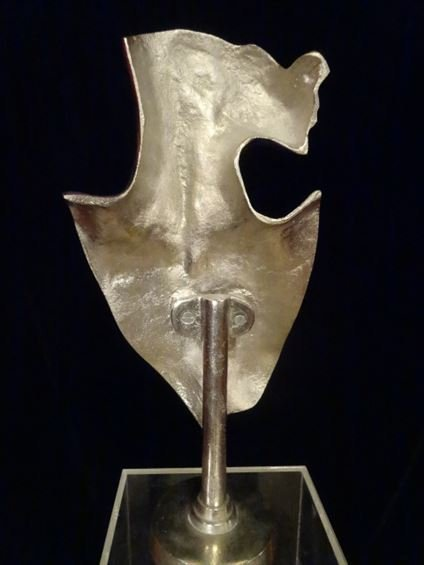 LARGE ALUMINUM FEMALE BUST SCULPTURE, #1 OF TWO - 5