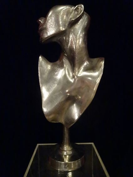LARGE ALUMINUM FEMALE BUST SCULPTURE, #2 OF TWO