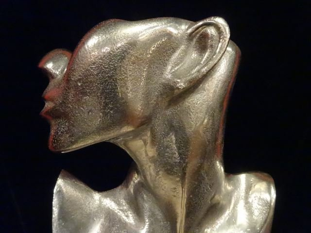 LARGE ALUMINUM FEMALE BUST SCULPTURE, #2 OF TWO - 2