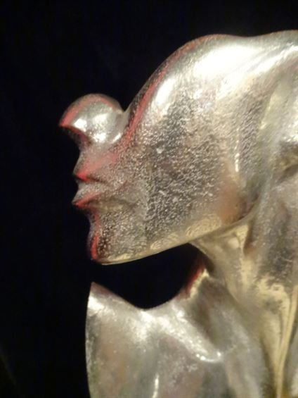 LARGE ALUMINUM FEMALE BUST SCULPTURE, #2 OF TWO - 4