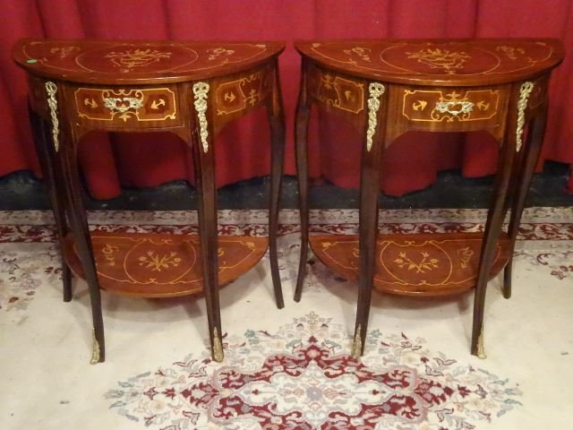 PAIR LOUIS XV STYLE MARQUETRY TABLES. GILT METAL