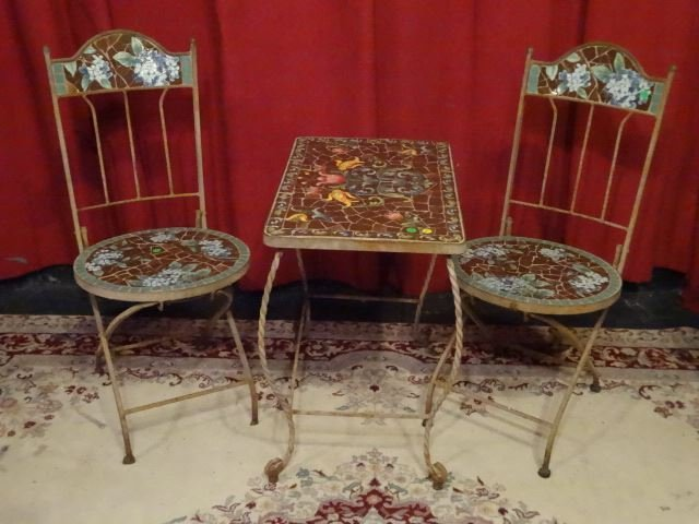 3 PC METAL AND MOSAIC TILE BISTRO SET, TABLE AND 2