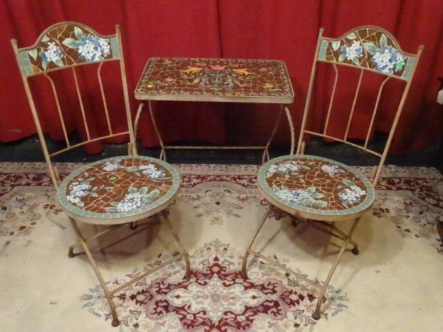 3 PC METAL AND MOSAIC TILE BISTRO SET, TABLE AND 2 - 2