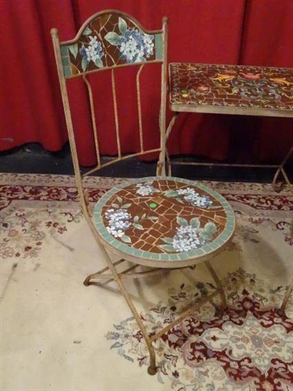 3 PC METAL AND MOSAIC TILE BISTRO SET, TABLE AND 2 - 3