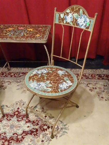 3 PC METAL AND MOSAIC TILE BISTRO SET, TABLE AND 2 - 4