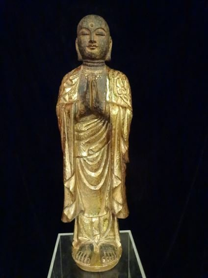 CHINESE CARVED GILT WOOD STANDING BUDDHA, #2 OF TWO