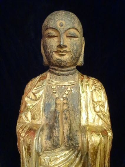 CHINESE CARVED GILT WOOD STANDING BUDDHA, #2 OF TWO - 2