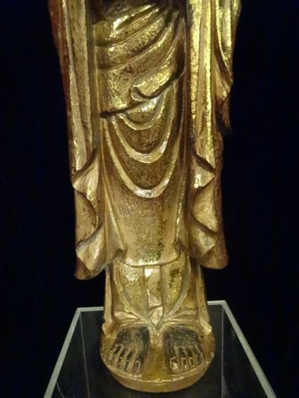 CHINESE CARVED GILT WOOD STANDING BUDDHA, #2 OF TWO - 3