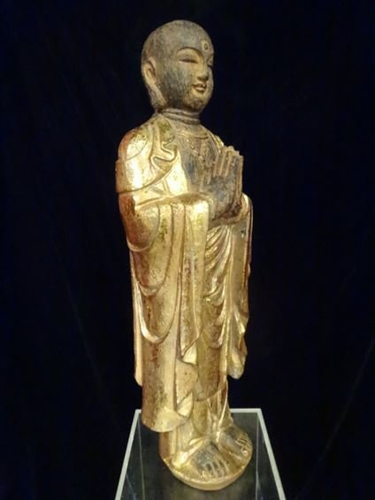 CHINESE CARVED GILT WOOD STANDING BUDDHA, #2 OF TWO - 4