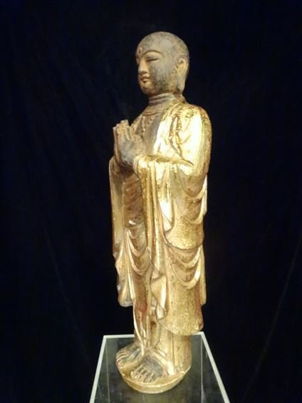 CHINESE CARVED GILT WOOD STANDING BUDDHA, #2 OF TWO - 6