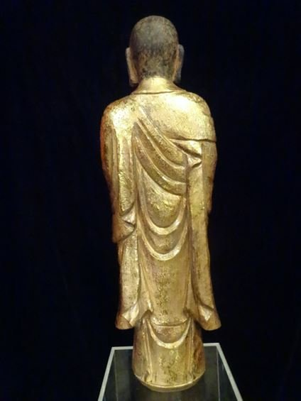 CHINESE CARVED GILT WOOD STANDING BUDDHA, #2 OF TWO - 7