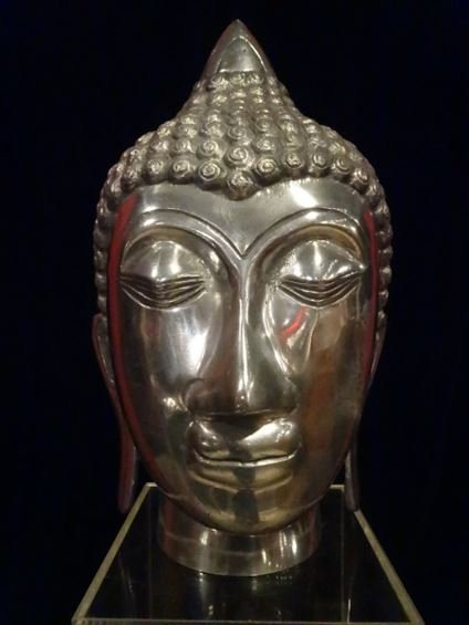 ALUMINUM BUDDHA HEAD SCULPTURE, #2 OF TWO AVAILABLE
