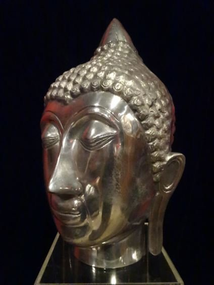 ALUMINUM BUDDHA HEAD SCULPTURE, #2 OF TWO AVAILABLE - 6