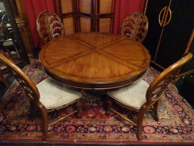 4 TOMMY BAHAMA STYLE OVAL BACK DINING CHAIRS, PLUME