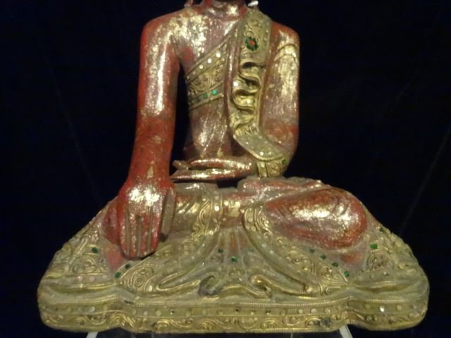CHINESE CARVED GILT WOOD BUDDHA WITH APPLIED BEADS, - 4