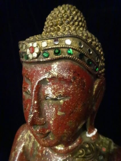 CHINESE CARVED GILT WOOD BUDDHA WITH APPLIED BEADS, - 6