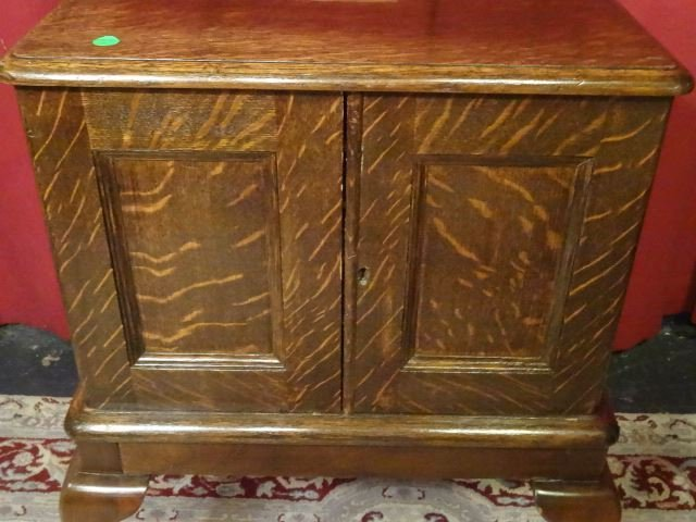 ANTIQUE TIGER OAK SILVER CHEST, 2 DOOR CABINET WITH - 4
