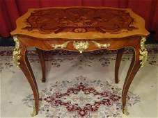 LOUIS XV STYLE MARQUETRY TABLE, GILT METAL MOUNTS,