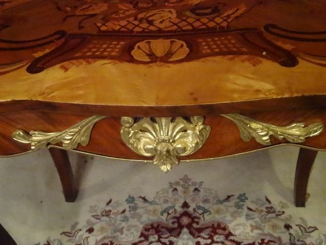 LOUIS XV STYLE MARQUETRY TABLE, GILT METAL MOUNTS, - 5