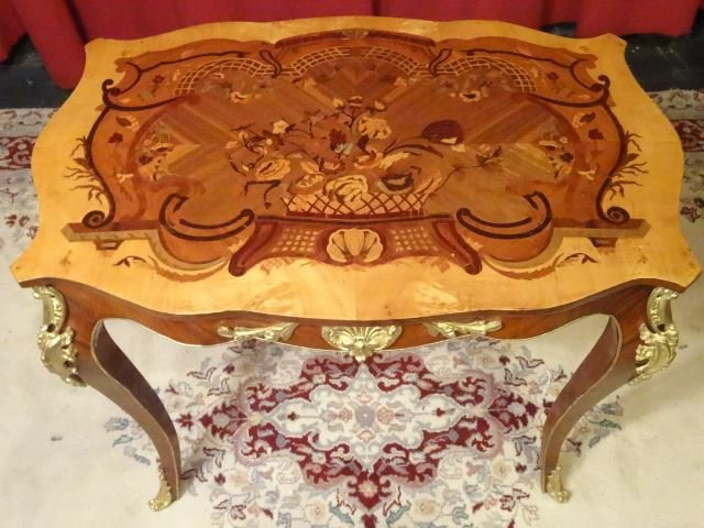 LOUIS XV STYLE MARQUETRY TABLE, GILT METAL MOUNTS, - 6