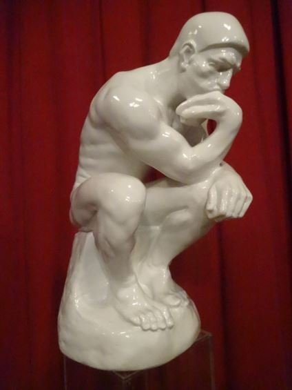 LARGE RODIN THINKER SCULPTURE, WHITE COMPOSITE,