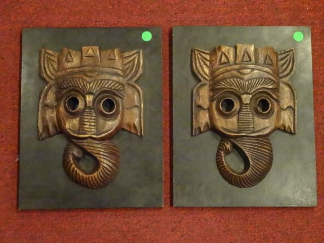 PAIR ELEPHANT CARVED WOOD WALL SCULPTURES, EACH APPROX
