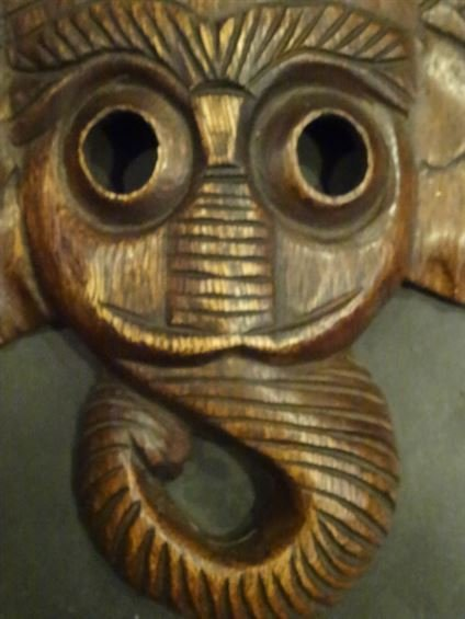 PAIR ELEPHANT CARVED WOOD WALL SCULPTURES, EACH APPROX - 4