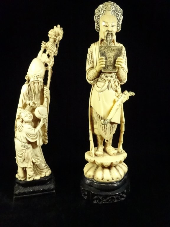 2 PC CHINESE FIGURINES, IMMORTAL & CHILD AND WARRIOR,
