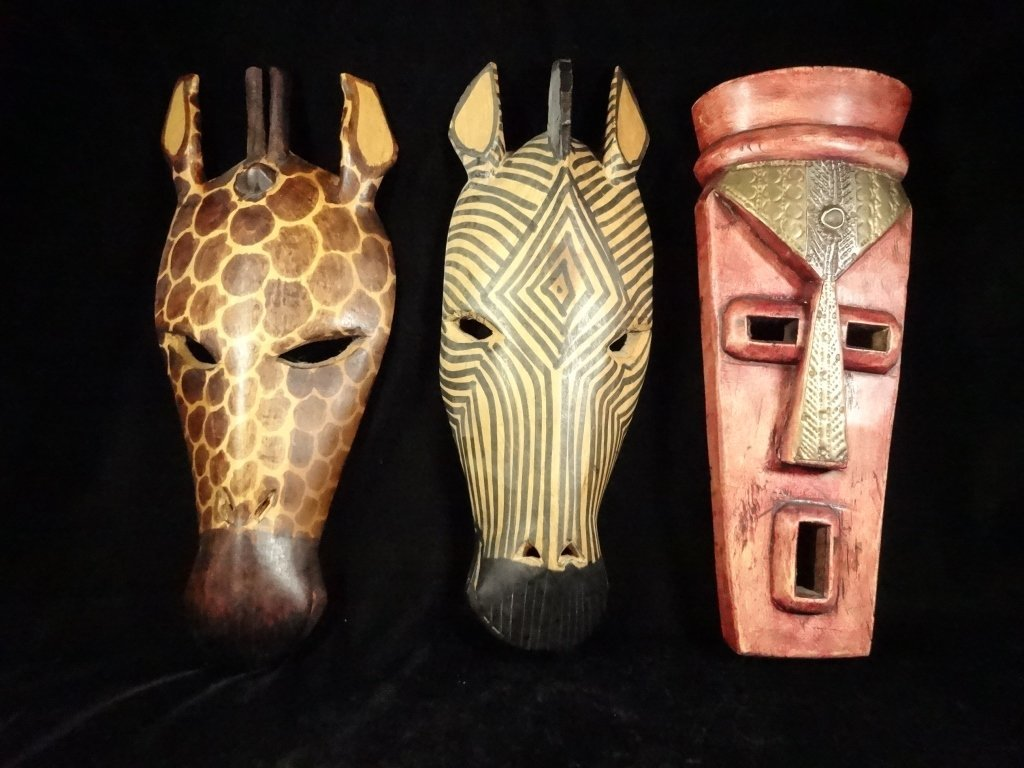 3 PC CARVED WOOD AFRICAN MASKS, GIRAFFE & ZEBRA MADE IN