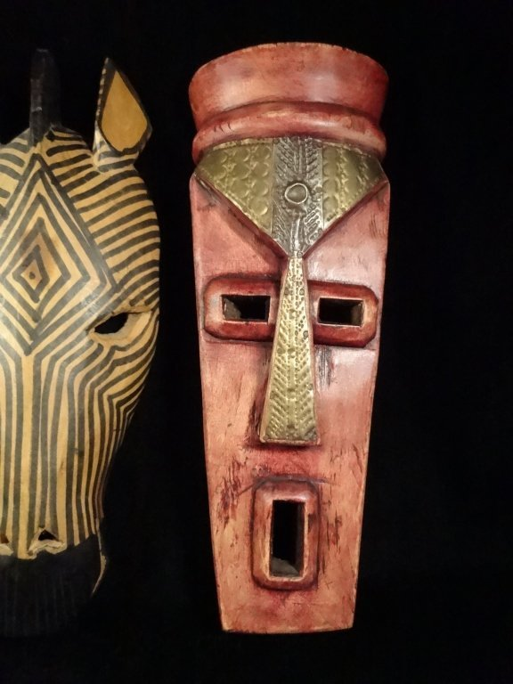 3 PC CARVED WOOD AFRICAN MASKS, GIRAFFE & ZEBRA MADE IN - 4