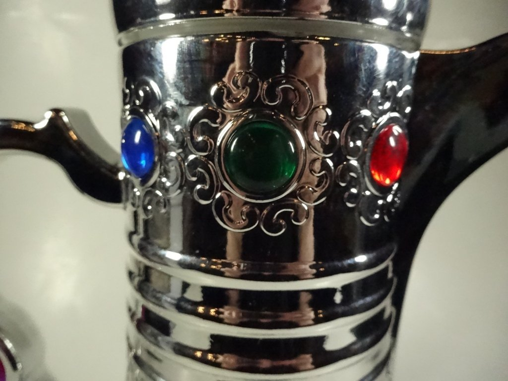 CHROME FINISH THERMOS DECANTER WITH JEWEL TONE ACCENTS, - 5