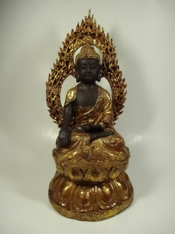 SEATED BUDDHA SCULPTURE, GILT FINISH ACCENTS, - 2