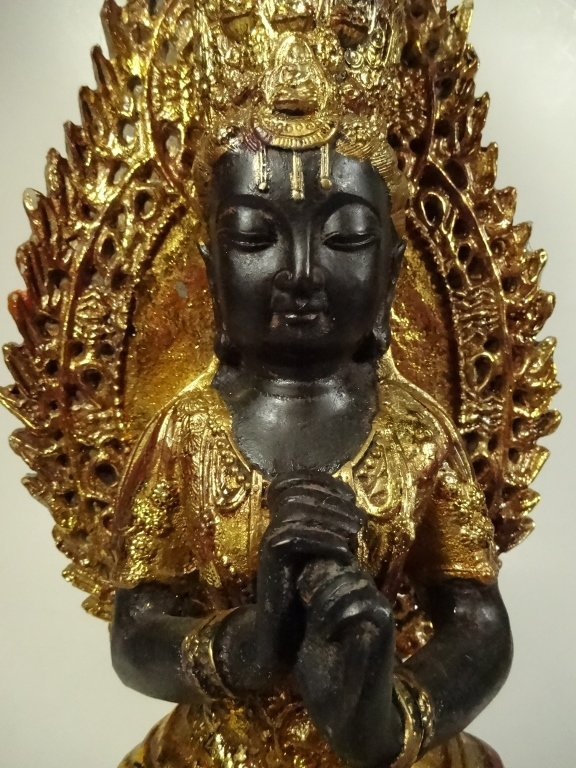 SEATED BUDDHA SCULPTURE, GILT FINISH ACCENTS, - 3