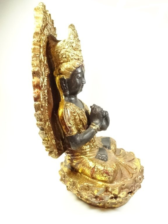 SEATED BUDDHA SCULPTURE, GILT FINISH ACCENTS, - 4