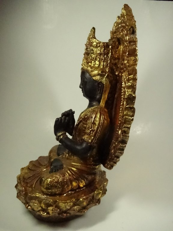 SEATED BUDDHA SCULPTURE, GILT FINISH ACCENTS, - 6