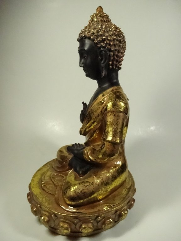 SEATED BUDDHA SCULPTURE, GILT FINISH ACCENTS, - 5
