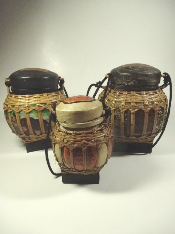 "3 PC BASKETS WITH ATTACHED LIDS, LARGEST APPROX 8""H"