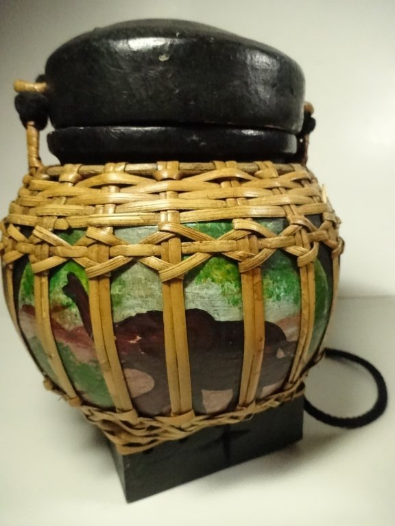 "3 PC BASKETS WITH ATTACHED LIDS, LARGEST APPROX 8""H - 2"