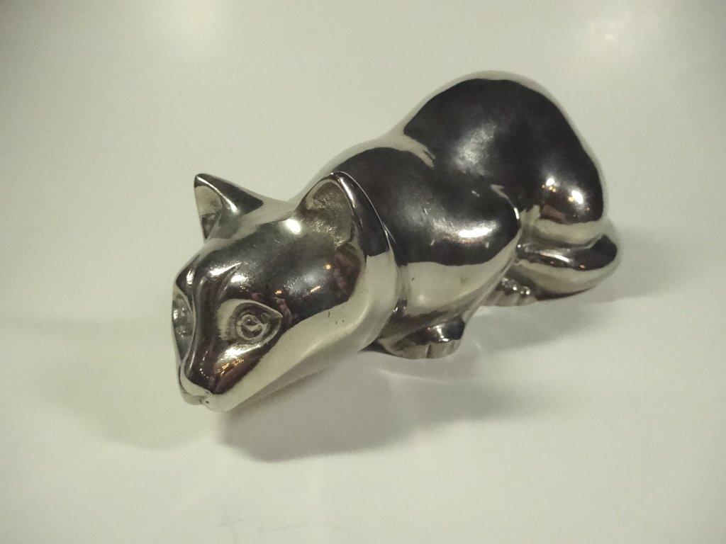 CAST METAL CAT SCULPTURE, CROUCHING, ALUMINUM FINISH,