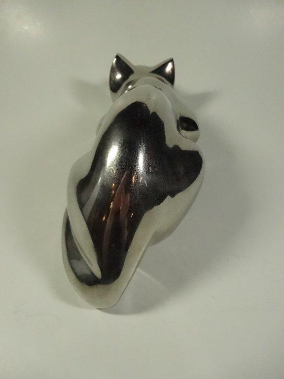 CAST METAL CAT SCULPTURE, CROUCHING, ALUMINUM FINISH, - 3