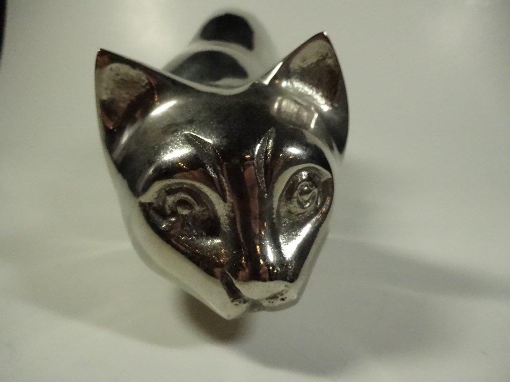 CAST METAL CAT SCULPTURE, CROUCHING, ALUMINUM FINISH, - 6