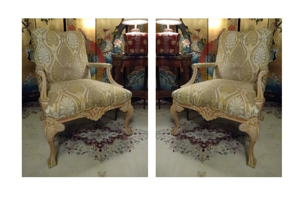 PAIR LOUIS XV STYLE OPEN ARM CHAIRS, LIGHT FINISH WOOD