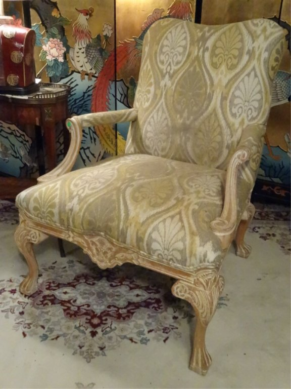PAIR LOUIS XV STYLE OPEN ARM CHAIRS, LIGHT FINISH WOOD - 3