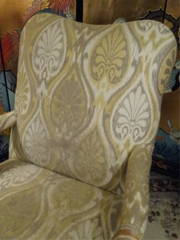 PAIR LOUIS XV STYLE OPEN ARM CHAIRS, LIGHT FINISH WOOD - 4