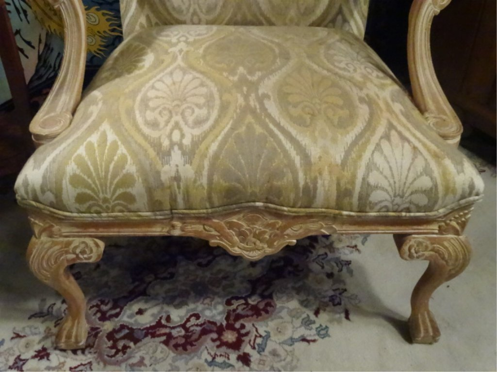 PAIR LOUIS XV STYLE OPEN ARM CHAIRS, LIGHT FINISH WOOD - 5